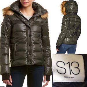 S13 Kylie High-Shine Faux-Fur Hooded Down Puffer